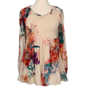Sunny Leigh Peach Floral Babydoll Tunic Top M